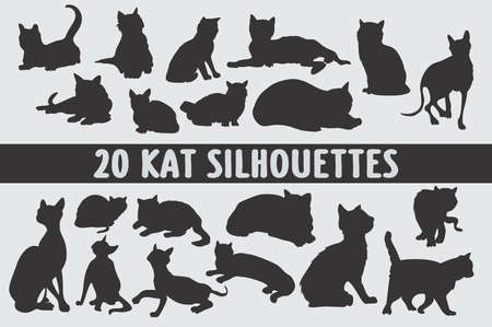 Cats Silhouettes set of 20 poses Illustration