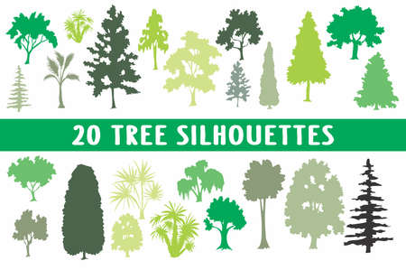 20 tree different shapes styles