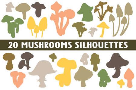 Mushroom Silhouettes set of 20 poses