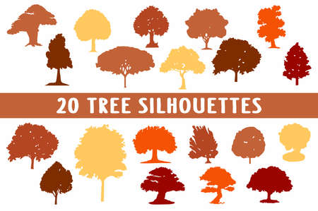 20 tree silhouettes different shapes