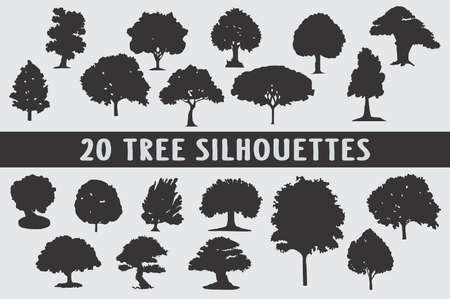 20 tree different shapes silhouette Illustration