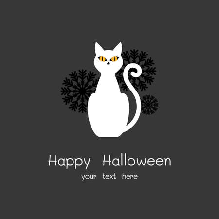 Happy Halloween Card with white cat and black flowers Vector