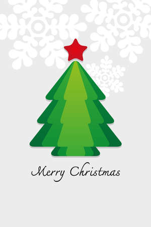Merry Christmas Card with Christmas tree Vector