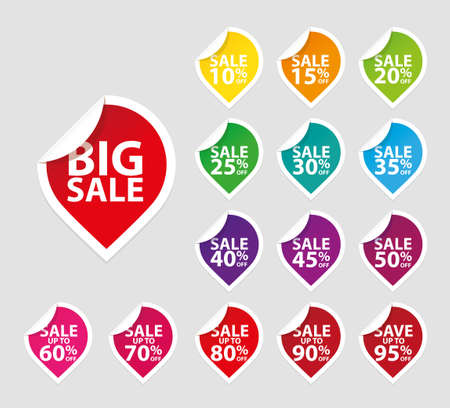 sale tags: Colorful sale tags icon set