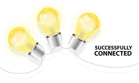 intelligent partnership: three light bulbs successfully connected