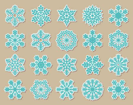 Vintage blue snowflakes 向量圖像