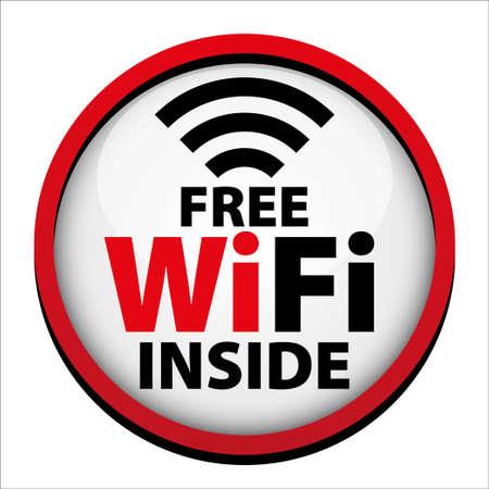 wifi access: Il wifi gratuito all'interno segno con bordo rosso