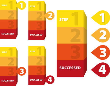 Yellow, orange and red four steps to success 向量圖像