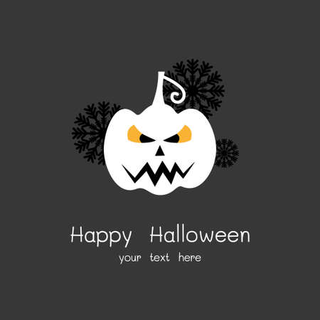 Happy Halloween Card with white pumpkin and black flowers Illustration