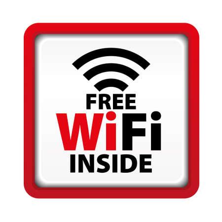 wifi access: Il wifi gratuito all'interno segno con bordo rosso quadrato Vettoriali