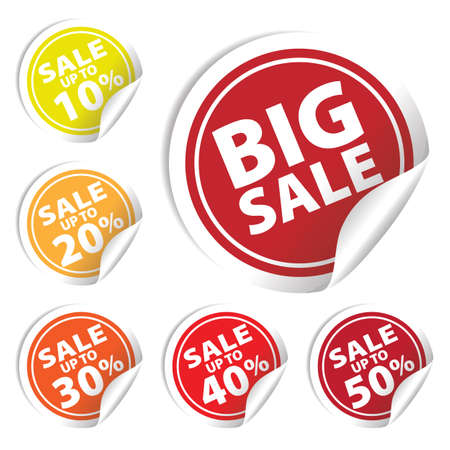 Big Sale tags with Sale up to 10 - 50 percent text on circle tags 向量圖像