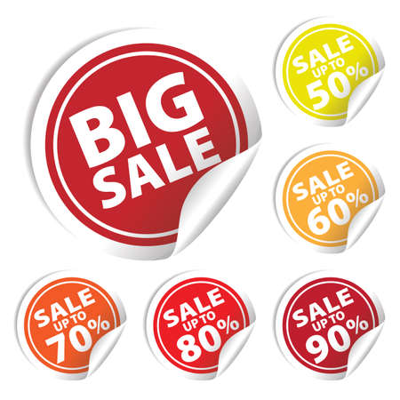 Big Sale tags with Sale up to 50 - 90 percent text on circle tags
