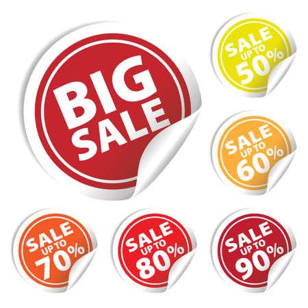 Etiquetas grandes de la venta con la venta de hasta el 50 - 90 por ciento de texto en etiquetas de círculo