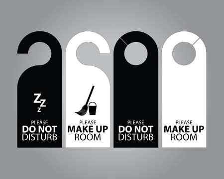 dangle: Due laterali in bianco e nero porta appendiabiti Tag per camera in hotel o resort Vettoriali