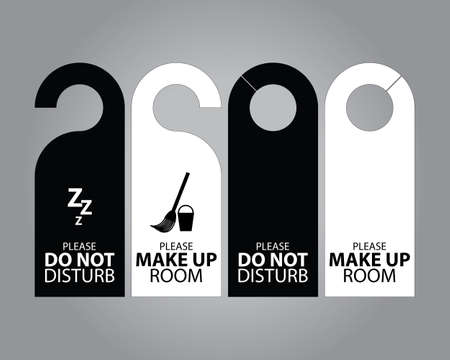 hotel room door: Two Side Black and White Door Hanger Tags for Room in Hotel or Resort Illustration