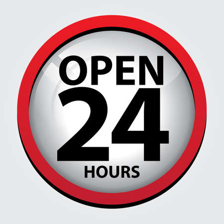 convenience: 24 Hours Open Glass Sign with Red border
