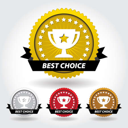 Best Choice Sticker and Sign with Cup and Stars Illustration