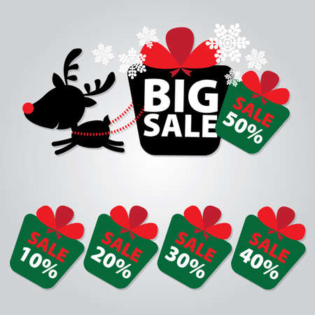 Big Sale New Year and Christmas Reindeer Sticker tags with Sale 10 - 50 percent text on Colorful Gift Box Sticker tags Vector