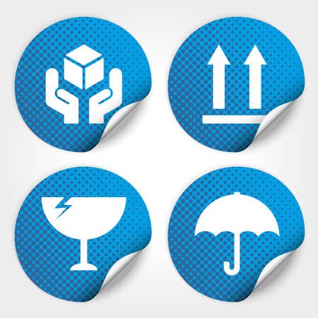 Blue Fragile Circle Stickers and Tags with Dot (Fragile icon, Handle with care icon, Keep dry icon, This side up icon)