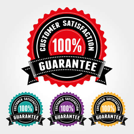 Customer Satisfaction Guarantee Badge and Sign - banner, sticker, tag, icon, stamp, label