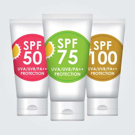 sun lotion: Sun Protection Lotion SPF50, SPF75, SPF100 - envases de tubo Vectores