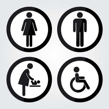 Black Circle Toilet Sign with Black Circle Border, Man Sign, Women Sign, Baby Changing Sign, Handicap Sign Illustration