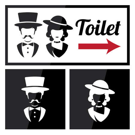 wc sign: Retro Toilet and Restroom Sign. Illustration