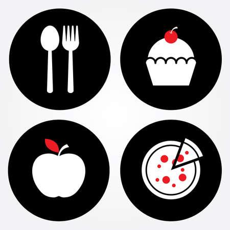 bakery sign: Signo de Alimentos, signo Panader�a, signo de la fruta, Pizza signo Vectores