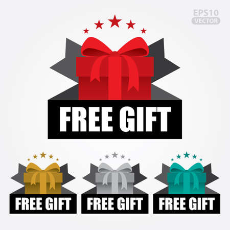 Free Gift Sign and Tag. Иллюстрация