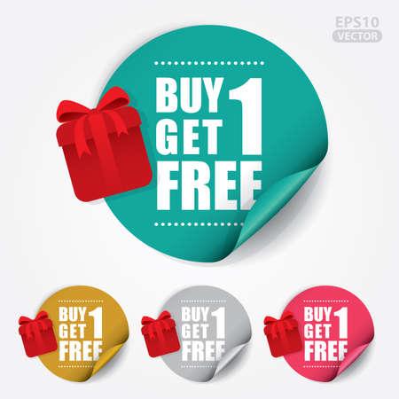 Compre 1 Get 1 Etiqueta y rótulo gratuito. Foto de archivo - 41930060