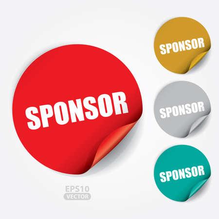 sponsor: Sponsor Sticker and Tag. Illustration