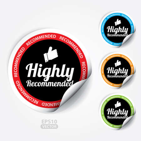 highly: Highly Recommended Sticker and Tag.