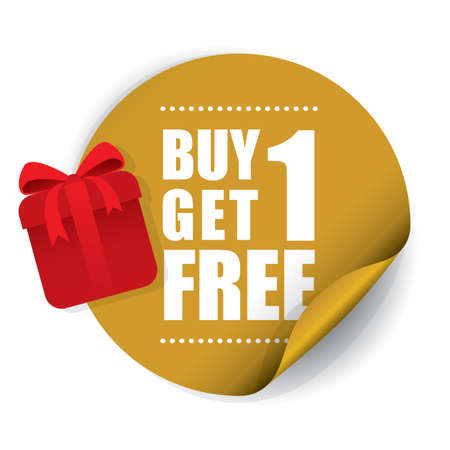 Buy 1 Get 1 Free Sticker and Tag. Banco de Imagens - 41930479