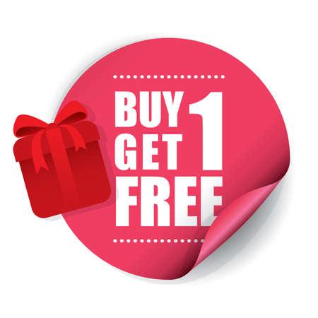 Compre 1 Get 1 Etiqueta y rótulo gratuito. Foto de archivo - 41930480