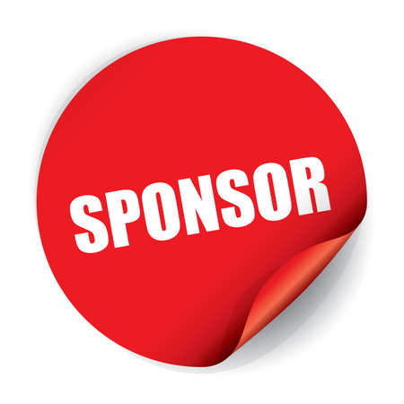 sponsor: Sponsor Sticker and Tag. Stock Photo