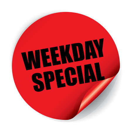 Weekday Special Sticker and Tag Stock Photo