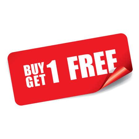 Buy 1 Get 1 Free on Rectangle Sticker. 版權商用圖片 - 41930501