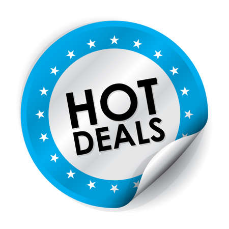 Hot Deals Sticker and Tag - Blue