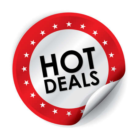Hot Deals Sticker and Tag - Red