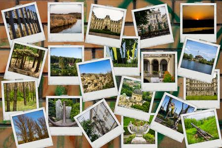 graffiti brown: Mosaico collage mezcla de viaje con fotos de diferentes lugares, paisajes y objetos tomadas por m� en la pared de ladrillo marr�n con color de fondo de graffiti