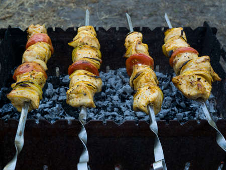 barbecues: Chicken kebabs barbecues on skewer grill