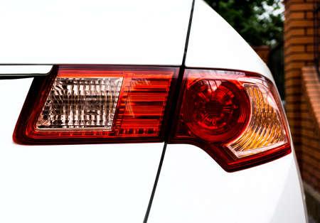 taillight: Back light taillight of white sport modern car Stock Photo