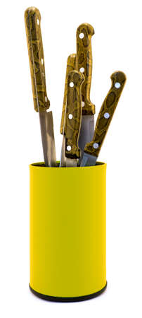 knifes: Yellow plastic kitchen knifes box organizer isolated on white