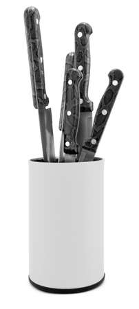 knifes: Plastic kitchen knifes box organizer black and white isolated on white