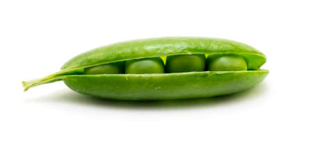 unopen: Green shelled unopen pea pod isolated on white