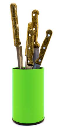 knifes: Acid green plastic kitchen knifes box organizer isolated on white