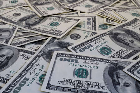 million dollars: Mount of hundred dollar banknotes background texture