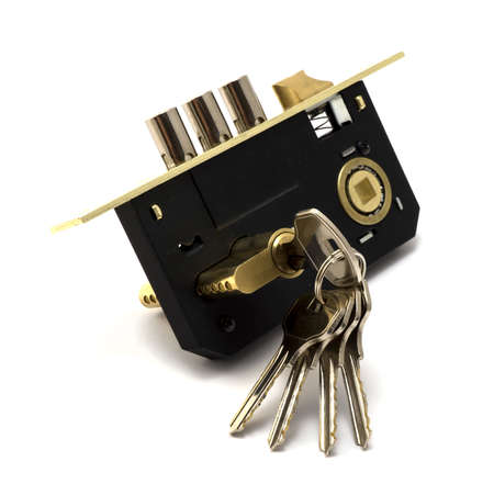 black and white lock: Modern gold and black lock with bunch of keys isolated on white