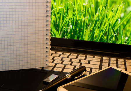 flash drive: Office workplace with notebook, smart phone, pen, flash drive and wordpad with green grass background