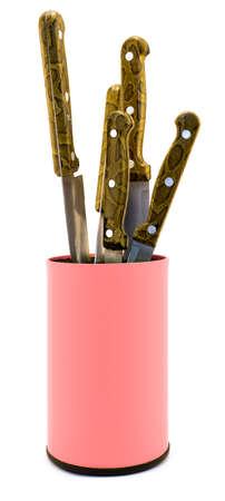 knifes: Rose plastic kitchen knifes box organizer isolated on white
